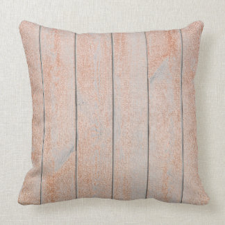 Peach Rose Gold Glam Metallic Wood Cottage Home Throw Pillow