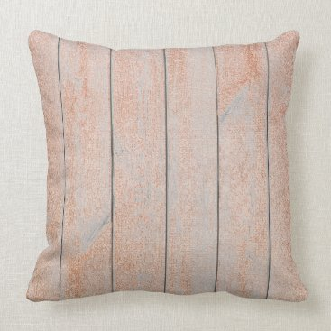 Beach Themed Peach Rose Gold Glam Metallic Wood Cottage Home Throw Pillow