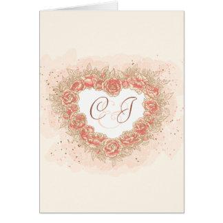 Peach Rose Grunge Heart Greeting Card