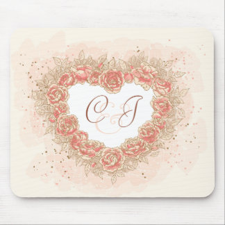 Peach Rose Grunge Heart Mouse Pads