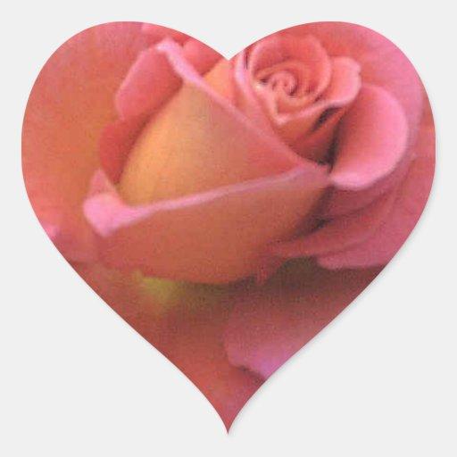 Peach Rose Heart Sticker