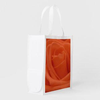 Peach Rose Image - Fabric Reusable Bag Reusable Grocery Bags