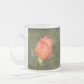 Peach Rose 10 Oz Frosted Glass Coffee Mug