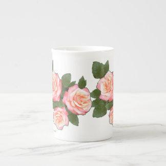 Peach Rose Mugs, add name option Tea Cup