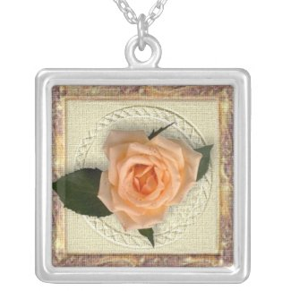 Peach Rose Custom Necklace