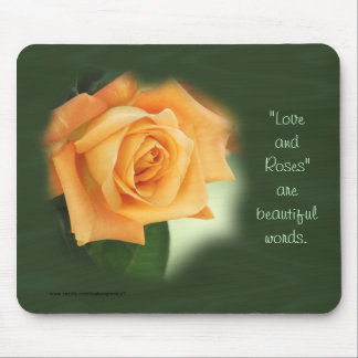Peach Rose on Hunter Green  personalize as desired Mouse Pad