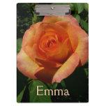 Peach Rose Orange Floral Clipboard