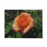 Peach Rose Orange Floral Doormat