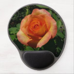 Peach Rose Orange Floral Gel Mouse Pad