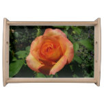 Peach Rose Orange Floral Serving Tray