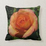 Peach Rose Orange Floral Throw Pillow