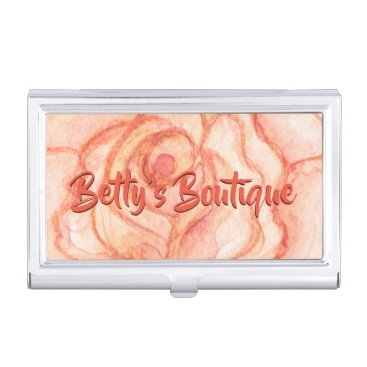 Professional Business Peach Rose Personalized Business Card Holder