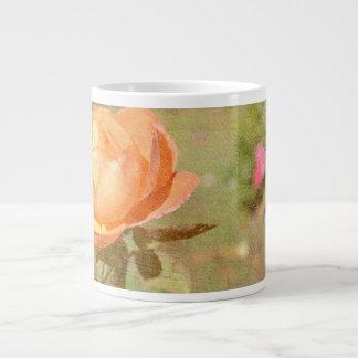 Peach Rose Romance Jumbo Mug 20 Oz Large Ceramic Coffee Mug