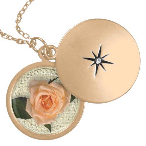 Peach Rose Round Locket Necklace