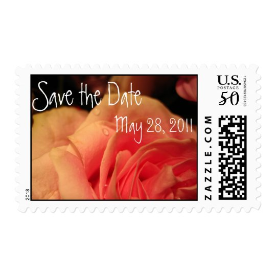 Peach Rose Save the Date Postage
