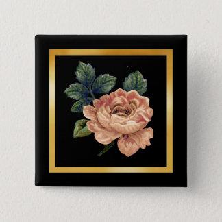 Peach Rose - Vintage Makeover. Pinback Button