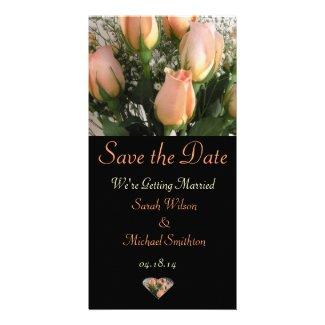 Peach Rose Wedding Announcement Photo Card