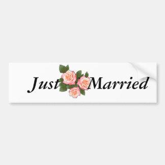Peach Rose Wedding Bumper Sticker