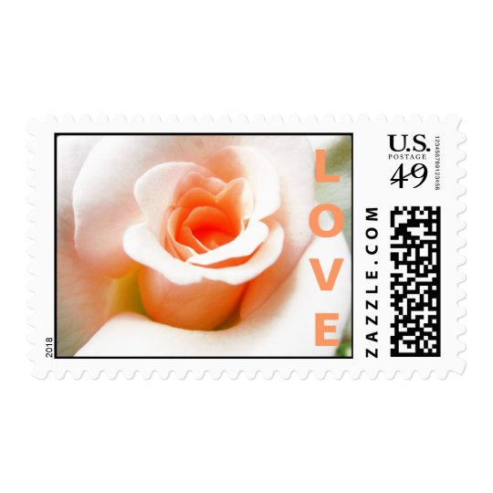 Peach Rose Wedding Stamp