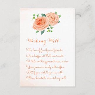 Peach Rose Wedding Wishing Well Cards