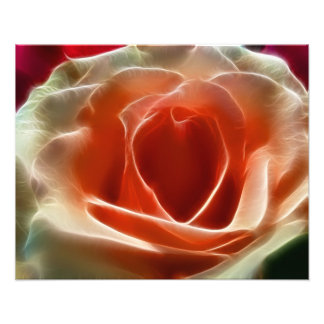 Peach Rose With Fractal Effect Heart Valentine Photo Print