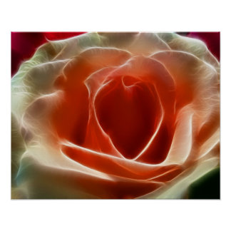 Peach Rose With Fractal Effect Heart Valentine Poster