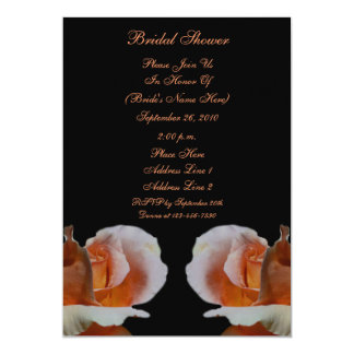 "Peach Rosebuds Black Floral Bridal Shower Invite 5"" X 7"" Invitation Card"