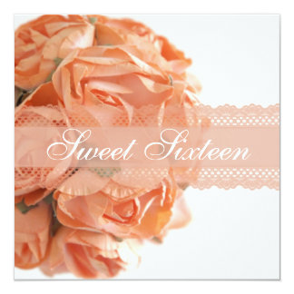 Peach Roses and Lace Sweet Sixteen Birthady Party Card
