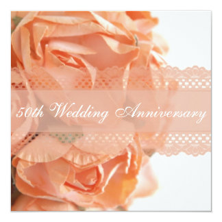 Peach Roses and Lace Wedding Anniversary Party Custom Announcements