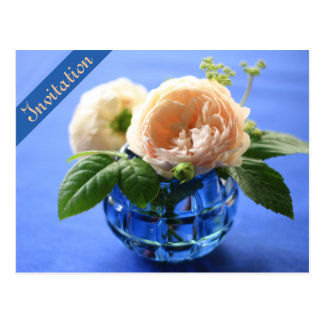 Peach Roses Blue Vase Rehearsal Dinner Invitation Postcard