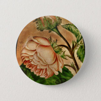 Peach Roses Botanical Image Button
