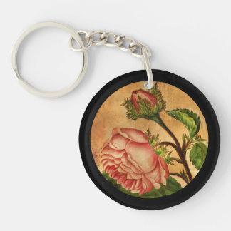 Peach Roses Botanical Image Keychain