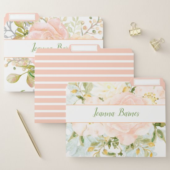 Peach Roses Bouquet Greenery Monogram File Folder