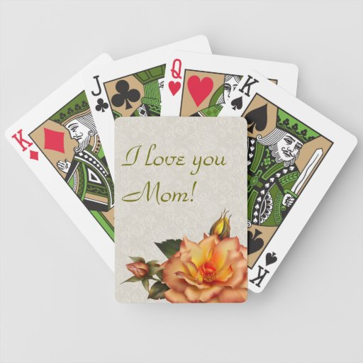 Peach Roses Bouquet Playing Cards