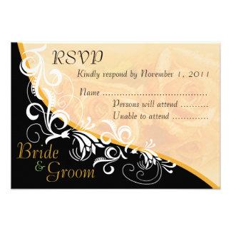 Peach Roses Bride & Groom RSVP Card #2B