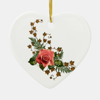 Peach Roses Ceramic Ornament