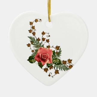 Peach Roses Ceramic Ornament