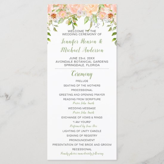 Peach Roses Greenery Extended Wedding Program