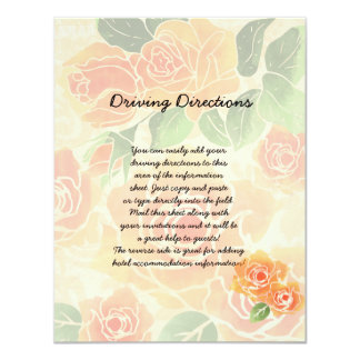 Peach Roses Informational Sheet Card
