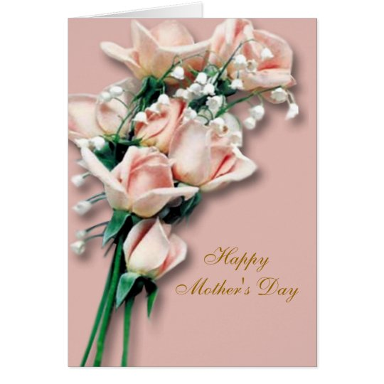 Peach Roses Mother's Day Card