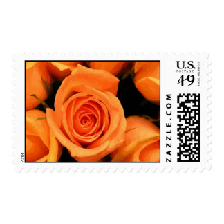 Peach roses on canvas stamp