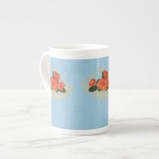 Peach Roses on Vintage Blue Bone China Mug Tea Cup