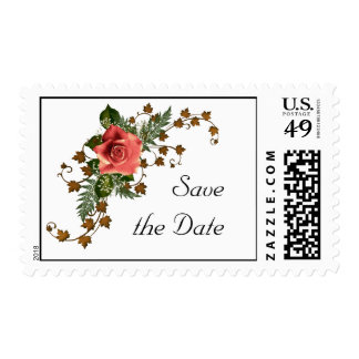 Peach Roses Postage Stamp
