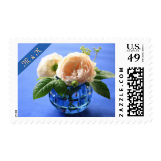 Peach Roses Pretty Blue Cut Glass Vase Tablecloth Postage