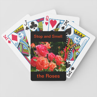 Peach Roses - stop and smell the roses Bicycle Playing Cards