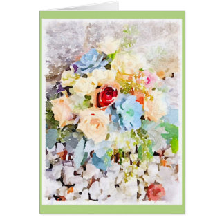 Peach Roses & Succulents Greeting Card