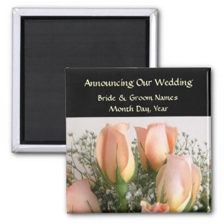 Peach Roses Wedding Save the Date Magnet
