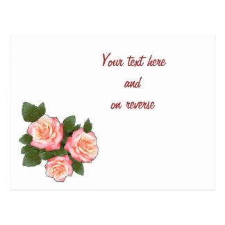 Peach Roses Wedding Staionary set blank card Postcard