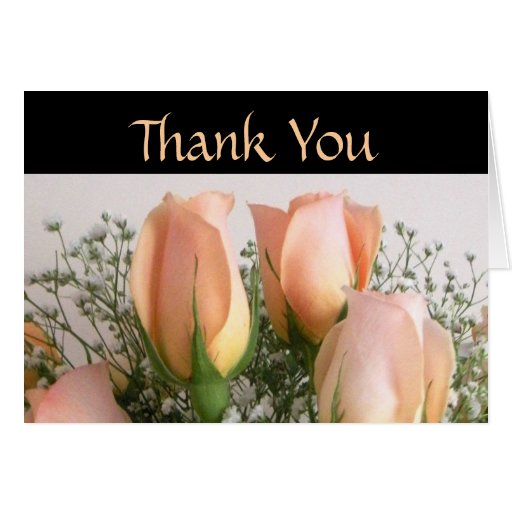 Peach Roses Wedding Thank You Card
