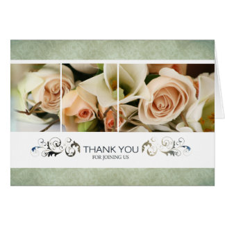 Peach Roses Wedding Thank You Cards